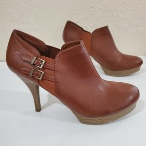 Unlisted Brown Heeled Faux Leather Ankle Boots 11